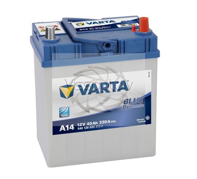 VARTA BLUE DYNAMIC A14 40Ah 330A R+ 187mm x 127mm x 227mm Akumulators