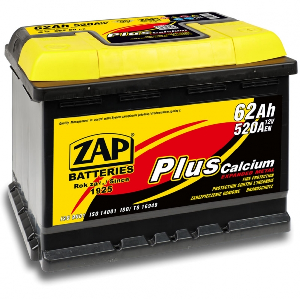 ZAP PLUS 62Ah 520A R+ 242mm x 175mm x 190mm Akumulators